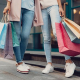 2 women are stepping out of a retail outlet holding their shopping bags