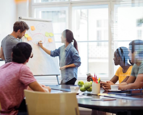A group of individuals at a white board brainstorm about the need for a customer data platform