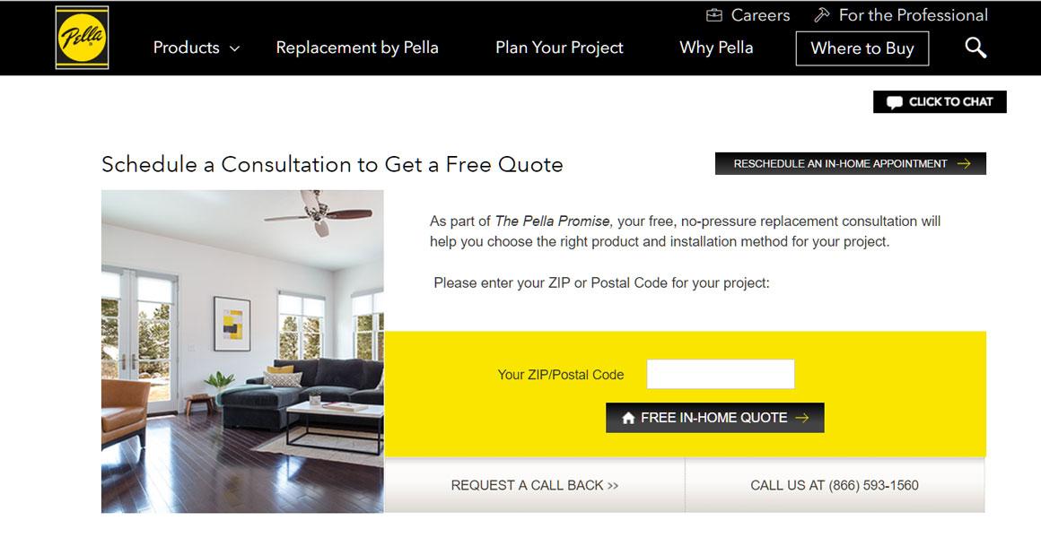 Screenshot of Pella In-home Consultation Scheduler