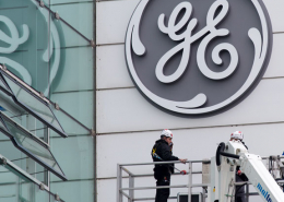 image of GE campus building with GE logo on it