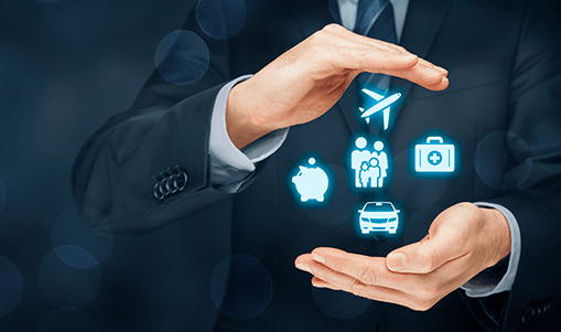 Travel icons (plane, care, suitcase, family) are drawn between the separated hands of a businessman