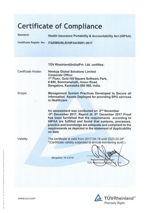 Image of HIPAA Compliance* certificate