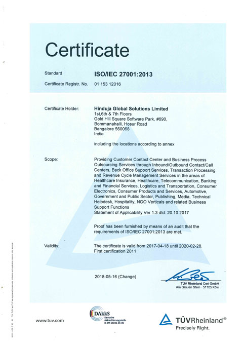 Image of ISO/IEC 27001:2013 certificate