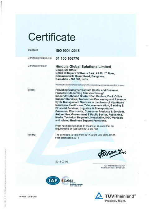Image of ISO 9001:2015 certificate