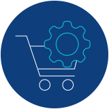 Icon of a shopping cart with a gear