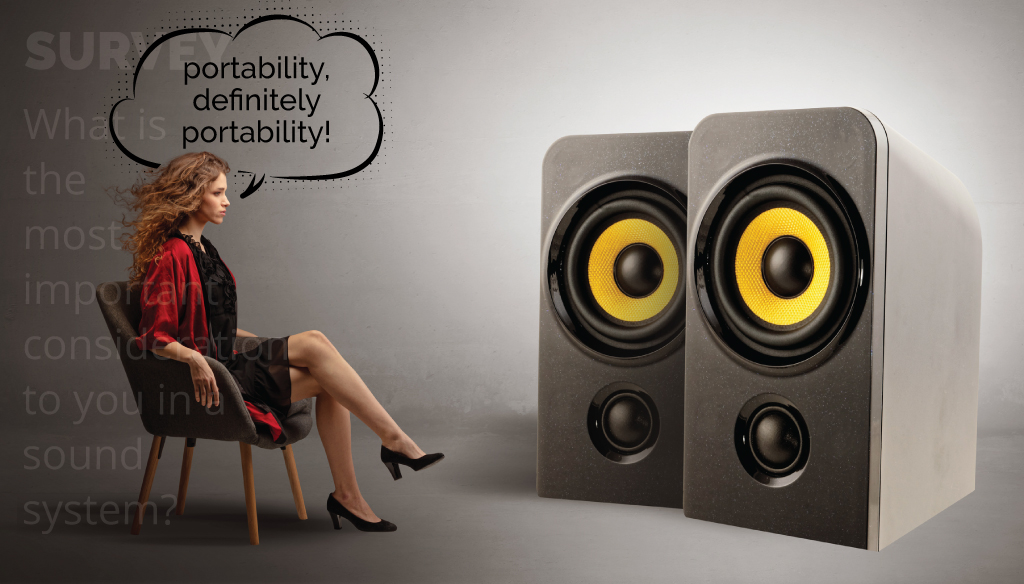 image of a woman considering portability being the most important factor of a sound system to her
