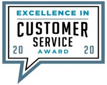 Excellence in customer service award 2020 badge